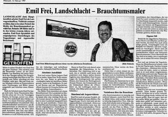 """Thurgauer Zeitung, 12.2.1997, """"Emil Frei, Landschlacht - Brauchtumsmaler"""""""
