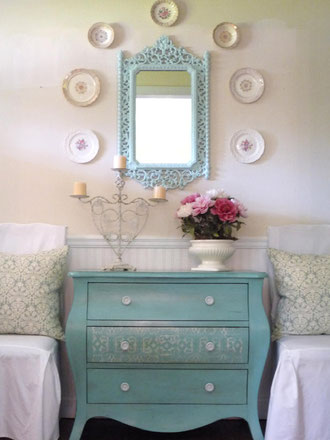 Flea Market Trixie turquoise dresser and mirror