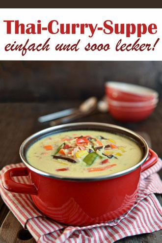 Thai Curry Suppe, ruck zuck Mittagessen mit wenigen Zutaten, alles einfach in den Thermomix geben, 20 Min. Kochzeit, vegetarisch, vegan