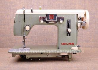 Gritzner GZ, Zickzack-Nähmaschine, Flachbett, Fußantrieb, Anbaumotor nachgerüstet, Hersteller: Gritzner-Kayser AG, Karlsruhe-Durlach (Bilder: Nähmaschinenverzeichnis)