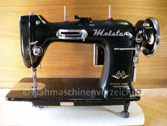 Meister ZZ, Flachbett, Fußantrieb, Vorrichtung für Anbaumotor vorhanden, Hersteller: Meister-Werke, Schweinfurt (Bilder: I. Naumann, Nähmaschinenverzeichnis)
