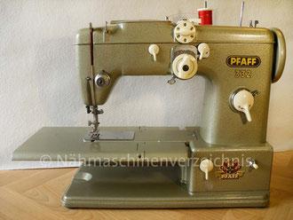 Pfaff 332 Automatic, Freiarm mit Einbaumotor und Klapptisch, Hersteller: G. M. Pfaff AG, Kaiserslautern, Baujahr 1958 (Bilder: I. Naumann und Nähmaschinenverzeichnis)