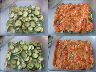 préparation gratin courgette tomate