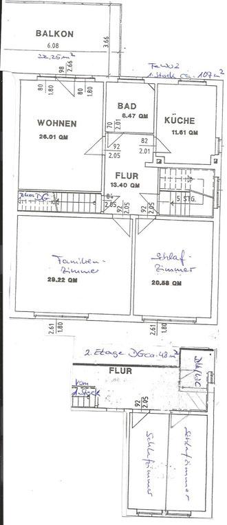 Grundriss FeWo 2 mit Dachgeschoß