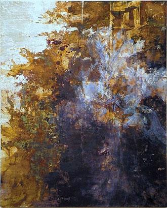 Iris (Painting, Japanese paper, Silver leaf, Pigments, Glue)