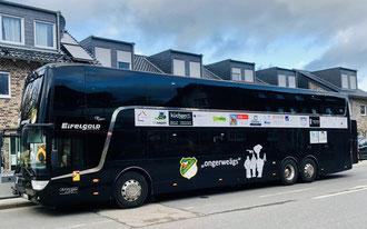 Unser Sessionsbus 2020, mit dem wir sicher und bequem von Auftritt zu Auftritt kommen. Mit freundlicher Unterstützung von Eifelgold Reisen und unseren Sponsoren.