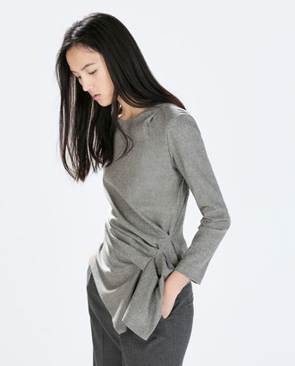 Zara Grey Gathered Side Top