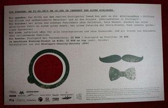 Veranstalter: Stuttgarter-Charity-Society (SCS) - Startgeld = Voranm. = 25 € - am Starttag = 35 € - Evening-Dinner im BIXX: 35 € on top