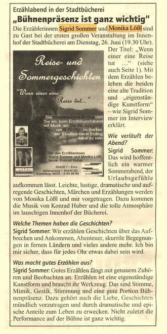 Sigrid Sommer im Interview mit Herrn Wanninger, Stadt Erding Presseabteilung