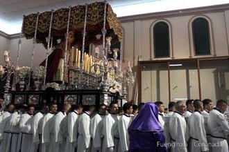 La Virgen en su procesión del 2016