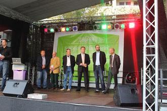 Die Organisatoren v.l.n.r.: Stadtrat Dietmar Haßler, Martin Stein und Heiko Thater (Prohliser Heimatverein), Holger Eid (Centermanger ProhlisZentrum), Christian Piwarz MdL (Schirmherr), Jörg Lämmerhirt (Ortsamtsleiter Prohlis)