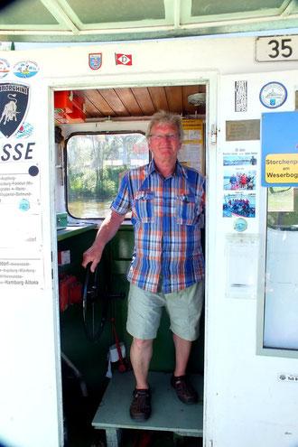 Immer freundlich und gut aufgelegt: Peter Nicolaus Wartenberg (Kapitän der Fähre AMANDA)
