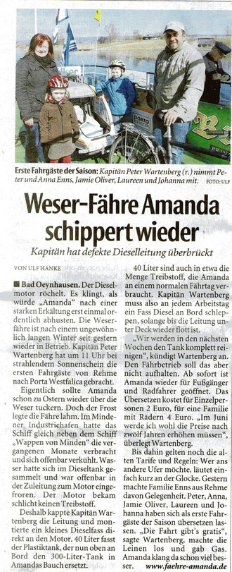 Artikel vom 08.04.2013 in der Neuen Westfälischen Ausgabe Bad Oeynhausen