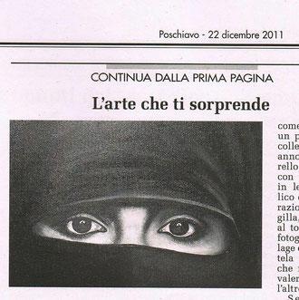 """""""Il Grigione Italiano"""" del 22 dicembre 2011 per la collettiva alla Galleria PGI di Poschiavo"""