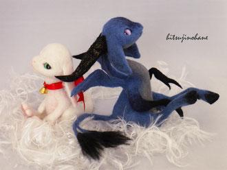 羊毛フェルト 光と闇の幻獣 ドラゴン