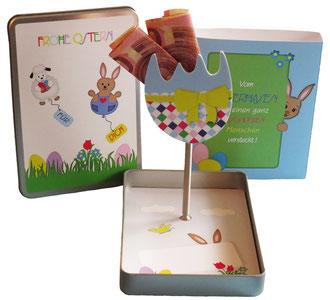 Geschenkbox Ostern für Geldgeschenke, Gutscheinkarten mit Osterei-Aufsteller