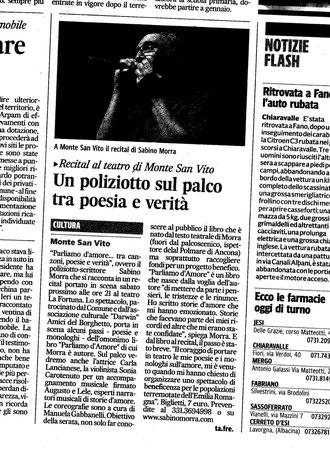 """Corriere Adriatico del 29.11.2012 in occasione del Recital teatrale """"Parliamo d'Amore....tra canzoni, poesie e verità"""" al Teatro """"La Fortuna"""" di Monte San Vito (An)"""