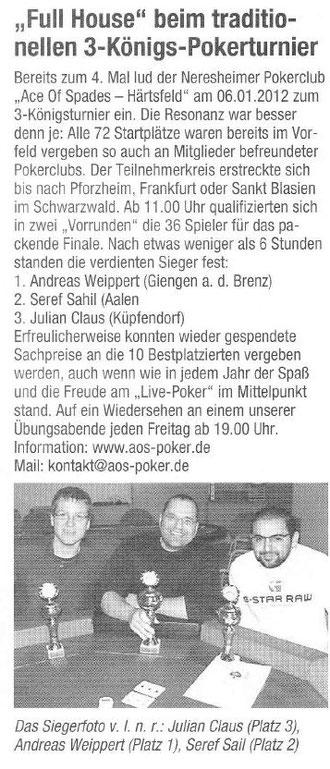 Neresheimer Nachrichtenblatt vom 12.01.2012
