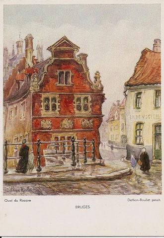 Carton d'invitation à l'expo organisée à Bruxelles en 1937 concernant ses peintures de Bruges.