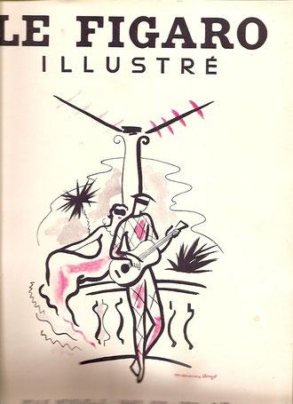 Figaro illustré de Mars 1935 avec un article sur le salon des Femmes Peintres dans lequel est reproduit un dessin de Marie-Thérèse Dethan-Roullet illustrant la rue Varin à Honfleur.