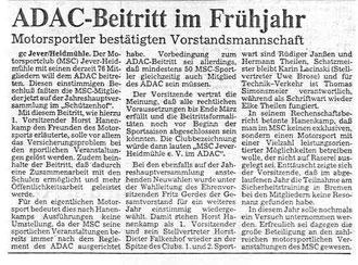 Der ADAC - Beitritt 1986
