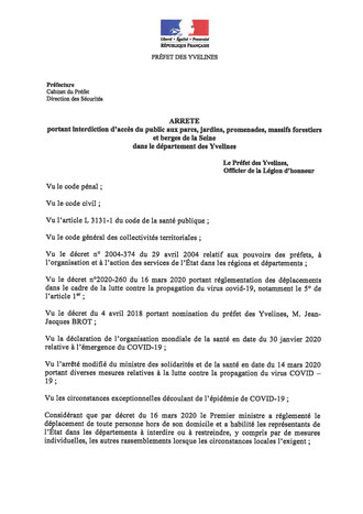 Arrêté du Préfet des Yvelines - p1