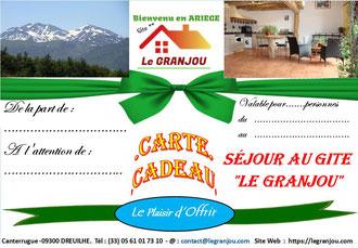 carte cadeau séjour GRANJOU