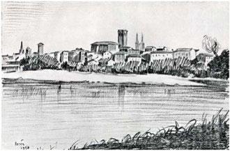 "Joaquín López Torralba ""REINA"". Vista de Logroño, 1953."