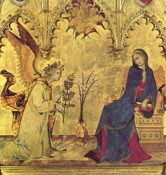 Anunciación. Pintura sobre tabla. Simone Martini. 1333. Uffizi.Florencia