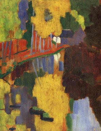"""Sérusier,El talismán,l´Aven au Bois d´Amour 1888.En torno a esta tabla se formó el grupo de """"nabis"""" a raíz de la emoción que suscitó entre los artistas"""