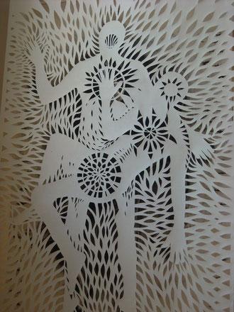 Sagrado-sosteniendo al padre. 270x151cm.Carbón sobre papel, dos hojas. Rod Pattenden.2010