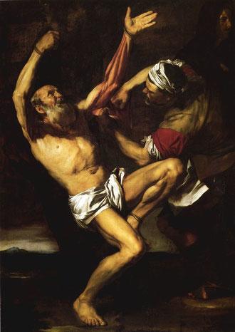 Martirio de San Bartolomé, con un sofisticado  tratamiento narrativo y compleja composición, con la postura del mártir y brazos alzados.Predicó la fe en India y Armenia donde fue desollado vivo.(Finaldi)