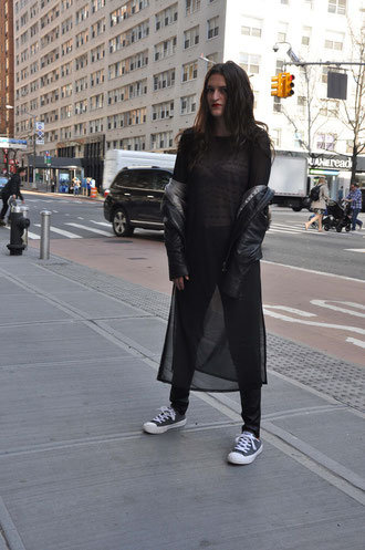 NYC Streetstyle Outfit Korsage Lederhose Transparenz Second Hand Blog Deutschland Modeblog Fairy Tale Gone Realistic