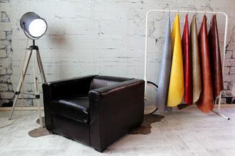 Ledersessel Cornell in gerader Bauweise und zeitloser Formensprache aus feinem Echtleder in vielen Farben für Wohnzimmer, Bar und Lounge
