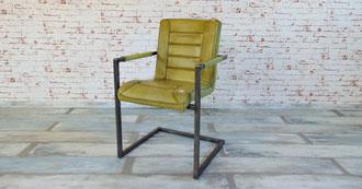 Freischwinger Echtleder oliv, Rohstahl im Industrial Design, Sitzauflage Büffelleder gepolstert