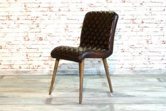 Esszimmerstuhl Charlotte dunkelbraun Echtleder, feinstes Italienisches Stuhl Design