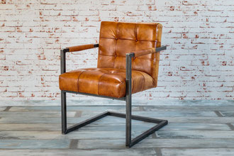 Schwerer Freischwinger Industrie Design Modell Franca dicke Sitzauflage Echtleder Farbe braun