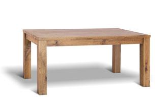 Rustikaler und moderner Eichentisch massiv mit geraden Linien und außenstehenden Tischbeinen