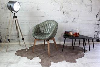 Schalenstuhl Mya Funny gestepptes Büffelleder Italienischer Design-Stuhl für Lounge und Esszimmer