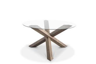Runder Glasplatten Esstisch mit Kreuz Tischgestell Eiche