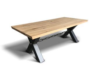 Kettentisch Industrial Eiche mit Stahkreuz Tischgestell