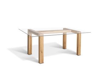 Glasplatten Esstisch mit Holzgestell Eiche