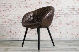 Esszimmer Stuhl Mya Echtleder im Italienischen Design mit Rautenmuster