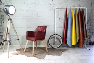 Design Lederstuhl Sofia Stiching toller Echtleder Stuhl für das Esszimmer weich gepolsterte Sitzschale