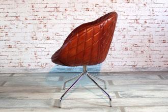 Esszimmer Stuhl Mya Trend Echtleder mit graziler Anmutung und ergonomisch geformter Sitzschale, feines Chrom Gestell