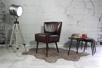 Lounge Sessel, Bar Stuhl Gessica, stylisch und bequem aus Büffelleder im formschönen Design Stuhlbeine Holz