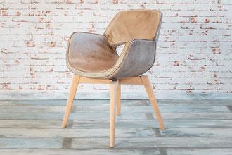 Esszimmerstuhl Gaia Echtleder Büffel im tollen Schalen Design mit dezenten Holzbeinen