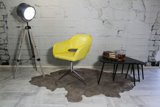 Schalenstuhl Leder Stefano Revolving im tollen Design mit Gasfederung, Stuhlgestell Chrom