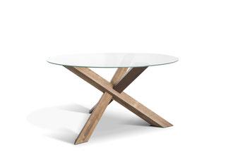 Detailbild runde Tischplatte Glas mit Kreuz Tischgestell Eiche