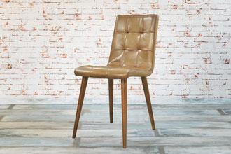 Polsterstuhl Davy Leder  modern und klassisch im Design, fügt sich in jeden Raum ein, die perfekte Kombination aus Echtleder und Holz.